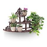 Relaxdays Blumentreppe rund aus Gusseisen HBT ca. 34 x 54 x 29 cm kleine Blumenbank für Blumen und Topfpflanzen auf Terrasse und Hof massives Regal mit 3 Ebenen im rustikalen Landhausstil, bronze