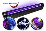 Schwarzlicht LED-UV-Röhre 60cm Komplettset | 10W High Power | Lange Lebensdauer (ca. 30.000 Stunden) | Bruchsicher | wechselbare UV Röhre | Für Schwarzlichtpartys und Blacklight Veranstaltungen | SATISFIRE®