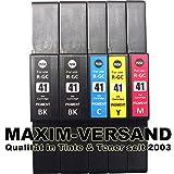 5 XXL Gel Drucker-Patronen Set für Ricoh GC-41 Black, Cyan, Yellow & Magenta (schwarz, rot, blau, gelb) kompatibel mit Aficio SG-2100N SG-3100 Series SG-3100SNW SG-3110DN SG-3110DNW SG-3110N SG-3110SFNW SG-3120BSF SG-3120BSFN SG-3120BSFNW SG-7100DN SG-K3100DN Tintenpatronen