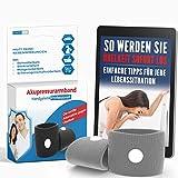 Akupressur Armband gegen Übelkeit - Ideal für Schwangerschaftsübelkeit, Seekrankheit, Reiseübelkeit (Grau) + E-Book: So werden Sie Übelkeit sofort los!