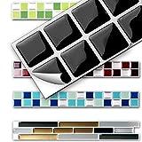 7 Stück 25,3 x 3,7 cm Wandora 3D Fliesenaufkleber W1431 viele Farben und Größen zur Auswahl Küche Bad Fliesenfolie selbstklebend schwarz weiß silber Mosaik Design 3