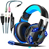 Gaming Kopfhörer für PS 4 PC Computer Professioneller 3,5mm Gaming Headset Stereo Sound Mikrofon...