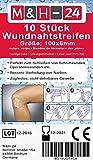 10er Set Wundnahtstreifen-Strips / Klammerpflaster Nahtmaterial Wundverschluss-Streifen 6 x 102 mm