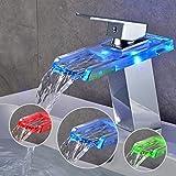 SAILUN Wasserfall Armatur Wasserhahn Glas Spüle Waschbeckenarmatur für Bad Waschtischarmatur Badarmatur Badezimmer Küchen (B Type)