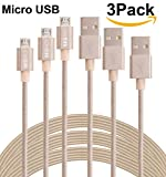 SEGMOI (TM) 3-Pack 3M 10FT extralange Tangle Freie Nylon Geflochtene High Speed Micro-USB-Lade Data Sync-Kabel Ladegerät Kabel mit Aluminiumleitern für Samsung HTC LG Huawei Xiaomi ZTE (goldene)