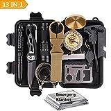 Survival Kit Set,TRSCIND 13 IN 1 Außen Notfall Selfhelp Werkzeuge Box Set,Feuer-Starter,Taschenlampe,Tactical Pen,Leuchtende Nacht Kompass,Rettungsdecken,für Fahrzeug Wandern Wasserdichte Survival Box