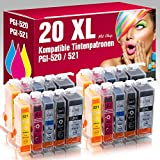 ms-point® 20 kompatible Patronen für Canon Pixma IP3600 IP4600 IP4600X IP4700 MP540 MP550 MP560 MP620 MP630 MP640 MP640R MP980 MP990 MX860 MX870 MX870 Series PGI-520 CLI-521