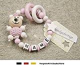 Baby Greifling Beißring geschlossen mit Namen | individuelles Holz Lernspielzeug als Geschenk zur Geburt & Taufe | Mädchen Motiv Bär und Stern in weiss