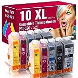 ms-point 10x Patronen MIT CHIP kompatibel für Canon Pixma IP3600 IP4600 IP4600X IP4700 MP540 MP550 MP560 MP620 MP630 MP640 MP640R MP980 MP990 MX860 MX870 MX870 Series PGI-520 CLI-521