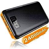 KEDRON Powerbank 24000mAh Externer Akku mit USB C&Micro 2 Eingänge und 3 Ausgänge Power Bank Handy für Smartphones, Tablett-Orange