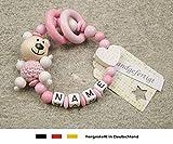 Baby Greifling Beißring geschlossen mit Namen | individuelles Holz Lernspielzeug als Geschenk zur Geburt & Taufe | Mädchen Motiv Bär und Herz in weiss