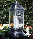 GRABLAMPE ENGEL ORNAMENT SILBER 34,0cm GRABKERZE GRABLICHT GRABLATERNE GRABSCHMUCK GRABLEUCHTE LATERNE KERZE LAMPE LICHT