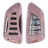 [m. jvisun] Schlüssel Schutzhülle für BMW X12016X5x5m UV4Treibhausfolie X6Gartenfolie 2Serie 7Serie Auto Fernbedienung Keyless Entry FOB Haut handgefertigt, Bling Diamant Aircraft Aluminium Schutzhülle Echt Leder mit Schlüssel Kette, RoseGold