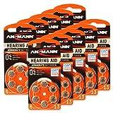 60 x ANSMANN Hörgerätebatterien/10x6er Packung Zink Luft Batterien mit 1,4V, Batterien Set Typ 13/Knopfzellen für Hörhilfe mit besonders langer Laufzeit