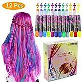 Philonext Colorful Professional Waxy Haar Kreide Kugelschreiber Non-Toxic Metallic Glitter temporäre Haarfarbe (12 Colors)