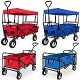 Bollerwagen faltbar mit Dach - inkl. 2 Netztaschen und einer Außentasche - rot Handwagen Transportkarre Gerätewagen Gartenwagen