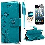 iPhone 5 5S SE Wallet Case iPhone 5 5S SE Flip Hülle YOKIRIN Schmetterling Blumen Muster Handyhülle Schutzhülle PU Leder Case Skin Brieftasche Ledertasche Tasche im Bookstyle in Blau