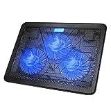 TeckNet Laptop Kühler 12-17 Zoll, Cooling Pad, Notebook Cooler Ständer Kühlpad Kühlmatte, 2 USB-Ports, 3 Lüfter mit LEDs