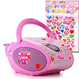 Stereo FM Radio Mädchen CD Player pink LCD Display Musik Anlage tragbar im Set inkl.Herzen Sticker