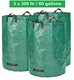 Gartensack 3 x 300 Liter - 3 Premium Gartensäcke XXL- Stabile Gartenabfallsäcke aus Extrem Robustem Polypropylen-Gewebe (PP) 150gsm - Selbststehend und Faltbar Laubsäcke von GloryTec