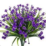 Never ending Künstliche künstliche Blumen, 4 Bündel für den Außenbereich, UV-beständig, Sträucher, Pflanzen drinnen und draußen, hängend, für den Garten violett