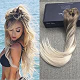Full Shine 16 Zoll 100gram 10 Pcs Remy Balayage Clip in Hair Extensions Aschbraun Farbe #8 Fading to Farbe #60 Platinum Blond Haarteile Echthaar Remy Hair Clip in Haar Extensions