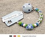kleinerStorch kS-079-1 Baby Schnullerkette mit Namen - Schnullerhalter mit Wunschnamen - Jungen Motiv Auto, blau