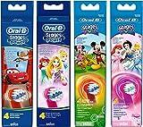 Oral-B Stages Power Kids Aufsteckbürsten, im Disney Cars, Disney Flugzeuge, Prinzessinnen oder Micky Maus Design, 4 Stück (sortiert)
