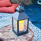Laterne mit LED Kerze Batteriebetrieb grau Lights4fun