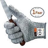 Schnittschutzhandschuhe MYCARBON Schnittfeste Küchehandschuhe Handschuhe Schnittschutzklasse 5 EN 388 CE für Küche Gartenbau Baustelle Schutzhandschuhe Einsatzhandschuhe L