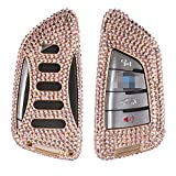 [m. jvisun] Schlüssel Schutzhülle für BMW X12016X5x5m UV4Treibhausfolie X6Gartenfolie 2Serie 7Serie Auto Fernbedienung Keyless Entry FOB Haut handgefertigt, Bling Diamant Aircraft Aluminium Schutzhülle Echt Leder mit Schlüssel Kette, gold