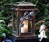 Grablaterne Rosen Bronze 22,0 cm mit Grabkerze GRABSCHMUCK GRABLAMPE GRABLEUCHTE Grablicht Laterne Kerze Lampe