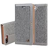 Apple iPhone 6Plus /6s Plus 5,5' Leder Hülle Flip Case Handytasche und Brieftasche mit Standfunktion Kredit Karten Fach mit Unsichtbarem Magnet,Grau