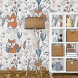 Tapeten, Wanddeko, Tapete (130 x 275 cm, Kindergarten Fuchs, Tapete, Wandbilder, Tapete Kinderzimmer, Wandtapeten, Kindertapete)