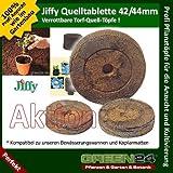10 St. Jiffy® von GREEN24 Original Quell-Tabletten Torf-Quelltöpfe Aussaaterde Anzuchterde 44mm Torftablette mit Anleitung