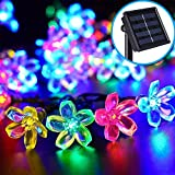 InnooTech bunte LED Solar Blumen Lichterkette 5m 50er Außen als Solar Beleuchtung Außen, Solar Lichterkette Außen (bunte)