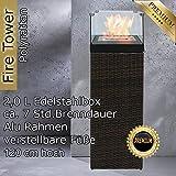 Bio Ethanol Feuersäule Feuerschale Feuerstelle Feuerkorb Kamin Ofen für Garten und Terrasse aus Polyrattan passend zu Sonnenliege und Gartenmöbel Farbe Natur