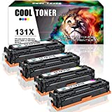 Cool Toner 4 Packs Compatible 131A 131X for HP LaserJet Pro 200 color M251N M251NW MFP M276N M276NW for HP131 HP131A CF210A CF210X HP131X HP 131A Toner M251 M276 MF8280CW Laserjet Color Printer Cyan Yellow Magenta
