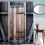 Duschvorhang Schimmelresistent,Wasserabweisender Stoff-Duschvorhang ,ToHa Zaun Holztür 180cmx180cm