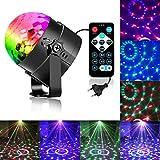Zacfton Mini LED Lichteffekte Disco Licht Party Licht Bühnenbeleuchtung 3W RGB Sprachaktiviertes Kristall Magic Ball Bühnenlicht für KTV Xmas Party Hochzeits-Show Club Pub Farbe ändern Beleuchtung mit Fernbedienung