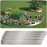 Rasenkante 5m 10m 15m 20m 30m 40m 50m 100x14cm oder 100x18cm verzinkt Beeteinfassung Beetumrandung Mähkante Metall Palisade (Länge 5m - Höhe 18cm)