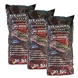 STEAKHOUSE Premium Grillkohle 3x10kg= 30kg aus 100% Buchenholz BBQ-Holzkohle in Restaurantqualität