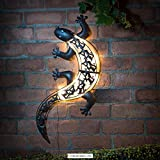 Solar Powered helles LED-Licht Gecko Metall Garten Dekoration Art Wand