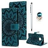 Motorola Moto E5 Hülle Leder Wallet Case Cover Tasche Handyhülle Sonnenblume Flip Case Handyschale Brieftasche Ständer Etui Bookstyle Magnetverschluß Kartenfach Schutzhülle Ledertasche Klappcase Blau