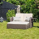 Luxus Gartensofa 3 in 1 mit Relax-, Liegefunktion und Ablagen aus Polyrattan in Mocca inkl. Auflagen in beige und Dekokissen
