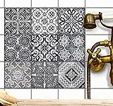 Mosaikfliesen Folie - CREATISTO Fliesensticker u. Fliesenaufkleber | Klebefolie Fliesen Aufkleber Folie Sticker für Küche u. Bad-Fliesen Wanddeko | 10x10 cm - Motiv Black n White - 9 Stück
