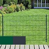 Gartenzaun System FIX 50 Meter = 25 x 2m Gittermatten 830 mm hoch in grün inkl. Zaunpfosten Zaun Set Doppelstab und Einfach-Stab - Zinkgrundierung, hohe Stabilität und Leichtigkeit