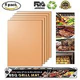 Merrday Kupfer Grillmatte, 5-Pack Heavy Duty Magic BBQ Grillmatten Antihaft, wiederverwendbar und einfach zu reinigen Barbecue Grillen Zubehör für Gas, Elektro und Holzkohle Grillen