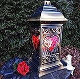 GRABLAMPE GRABLATERNE MIT HERZ incl.GRABLICHT 36,0cm ♥ GRABSCHMUCK GRABLEUCHTE Herzgitter Gabione Friedhof Engel Grabherz