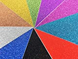 10 Blatt Klebefolie Glitzer Selbstklebende Dekofolie A4 Farbige Bastelfolie Glitter Vinyl Aufkleber für DIY Handwerk Scrapbooking mehrfarbig